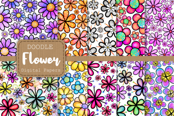 Print on Demand: Doodle Daisy Flower Digital Papers Gráfico Moldes Por Prawny
