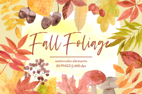 Print on Demand: Fall Leaves Autumn Watercolor Graphics Graphic Illustrations By roselocket