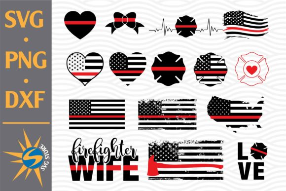 Firefighter American Flags SVG Cut Files