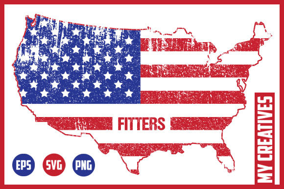 Fitters - USA Map Graphic Crafts By MY Creatives
