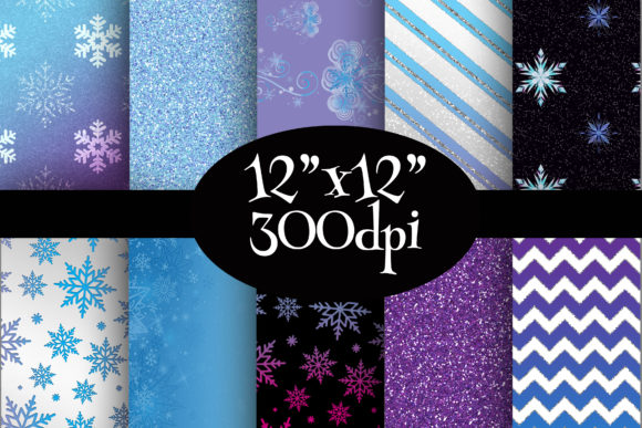Print on Demand: Frozen Inspired Digital Paper Pack Graphic Backgrounds By Party Pixelz