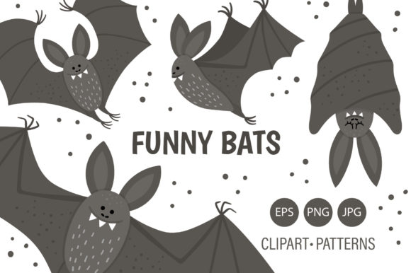 Funny Bats Graphic Illustrations By lexiclaus