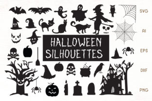 Print on Demand: Halloween Silhouettes - Cliparts Graphic Objects By Dasagani
