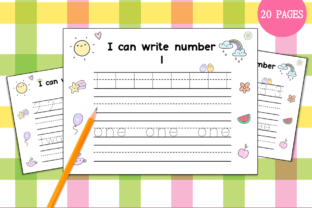 Handwriting Practice 1-20 (Cute Themed) Graphic PreK By Miss Cherry Designs