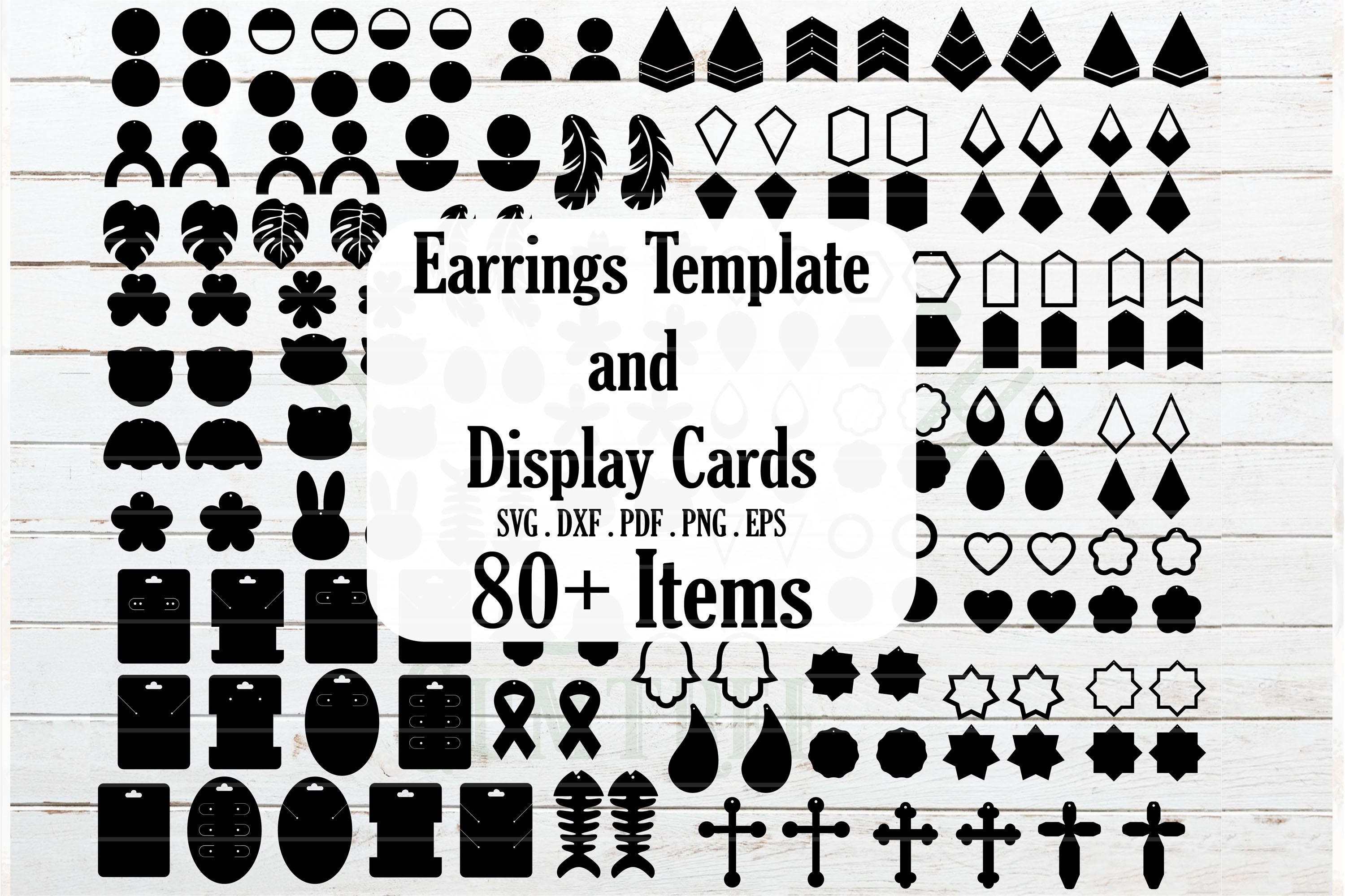 Huge Earrings and Jewelry Card Template SVG File