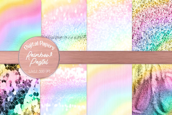 Intense Glitter and Metal Pastel Texture Graphic Backgrounds By AM Digital Designs
