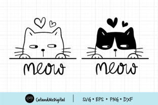 Meow Black Cat Graphic Illustrations By CatAndMe