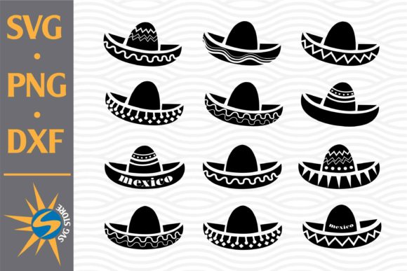 Print on Demand: Mexico Sombrero Silhouettes Graphic Crafts By SVGStoreShop
