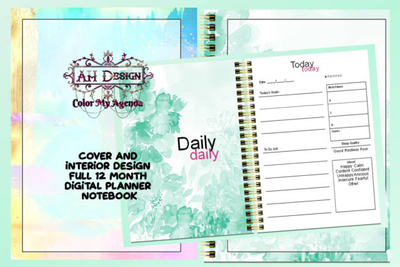 Minty Printable Planner Journal Notebook Graphic Print Templates By AHDesign