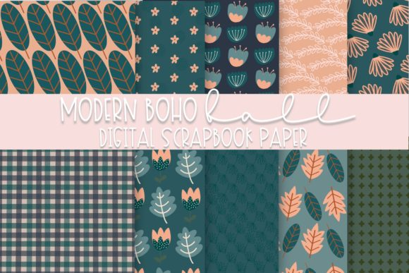 Print on Demand: Modern Boho Fall Digital Paper Graphic Illustrations By Fairways and Chalkboards