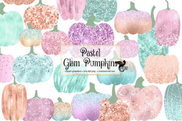 Print on Demand: Pastel Glam Pumpkins Clipart Graphic Illustrations By Digital Curio
