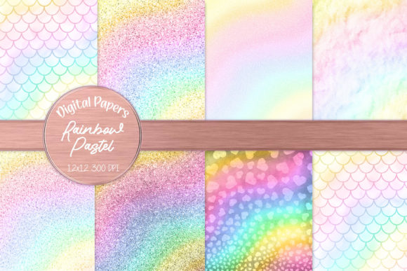 Pastel Rainbow Girly Glitter and Hearts Graphic Backgrounds By AM Digital Designs