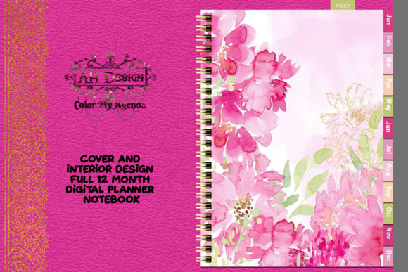 Pink Floral Digital Planner Notebook Graphic Graphic Templates By AHDesign