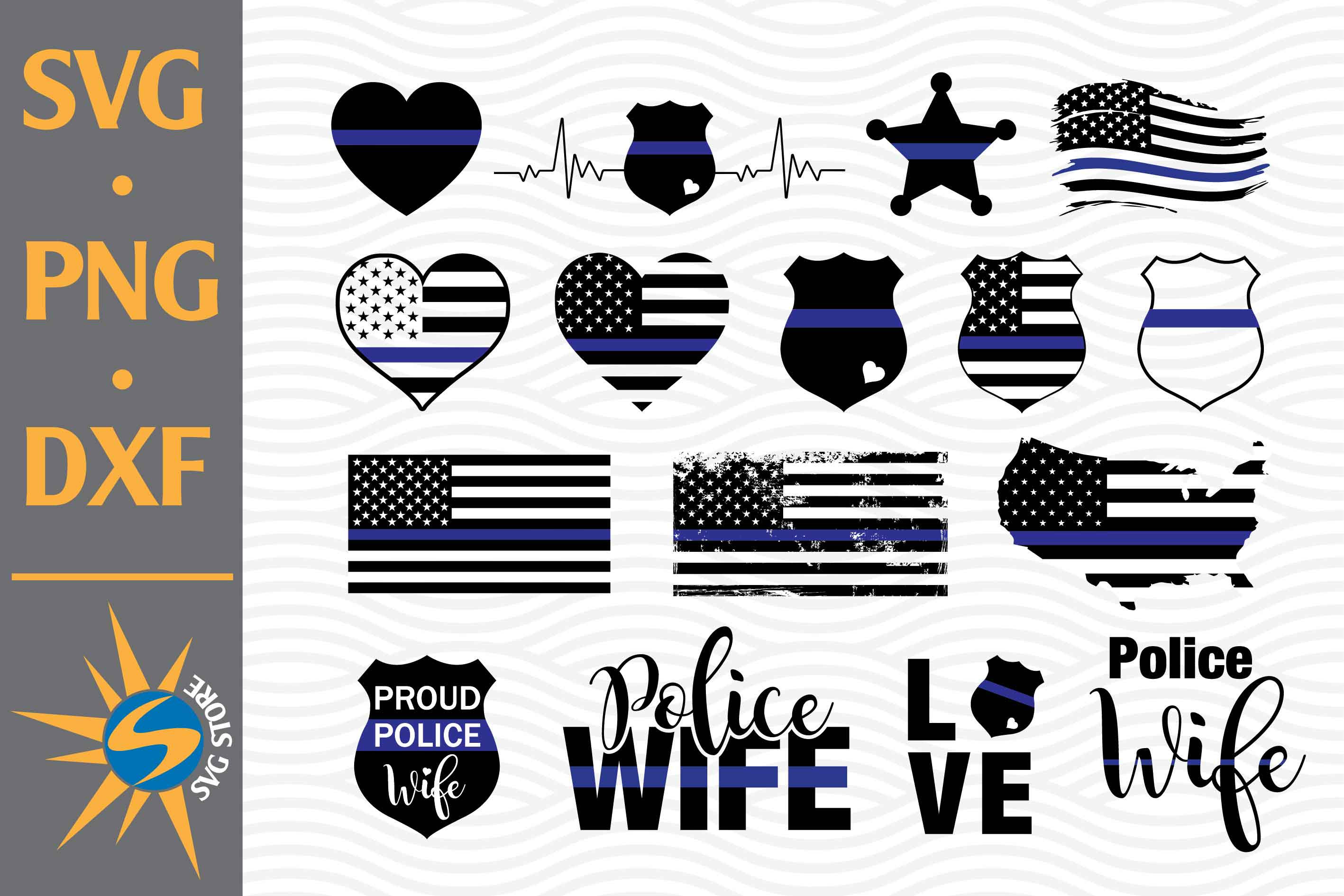 Police American Flags SVG File