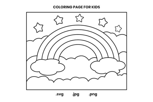 Print on Demand: Rainbow Coloring Page Graphic for Kids Graphic Coloring Pages & Books Kids By doridodesign