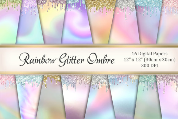 Rainbow Glitter Ombre Graphic Textures By Tara Artisan