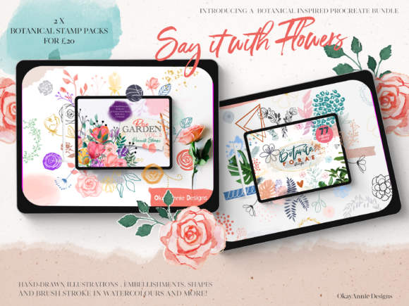 Say It with Flowers Bundle Pack Graphic Brushes By OkayAnnie Designs