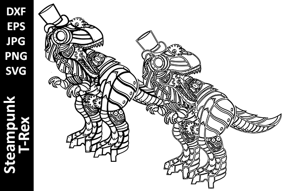 Steampunk Mechanical T-Rex Dinosaur Graphic Crafts By Oxyp