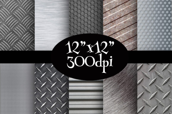 Print on Demand: Steel Textures Digital Paper Pack Graphic Backgrounds By Party Pixelz