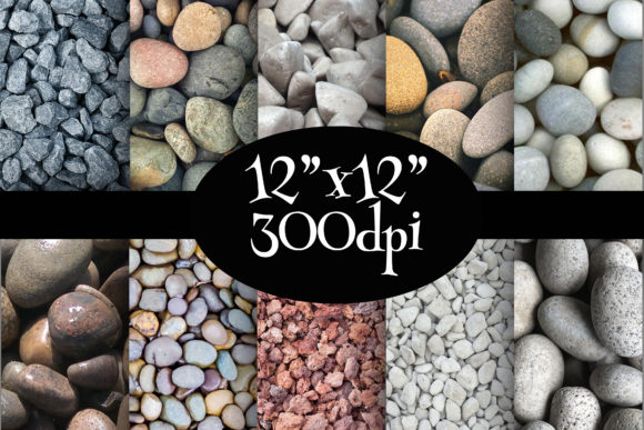 Print on Demand: Stones Pebbles Digital Paper Pack Graphic Backgrounds By Party Pixelz