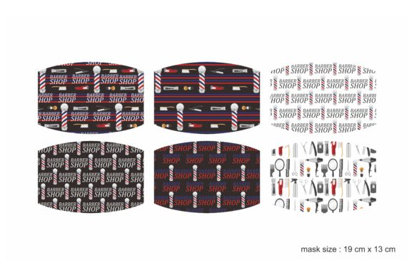 Print on Demand: Sublimation Face Mask Barbershop Pattern Graphic Crafts By Arief Sapta Adjie