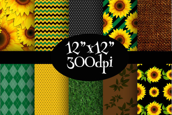 Print on Demand: Sunflowers Digital Paper Pack Graphic Backgrounds By Party Pixelz