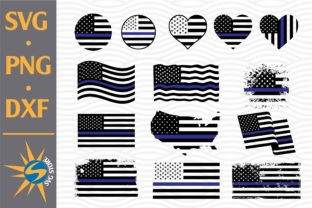 Print on Demand: Thin Blue Line American Flag Graphic Crafts By SVGStoreShop