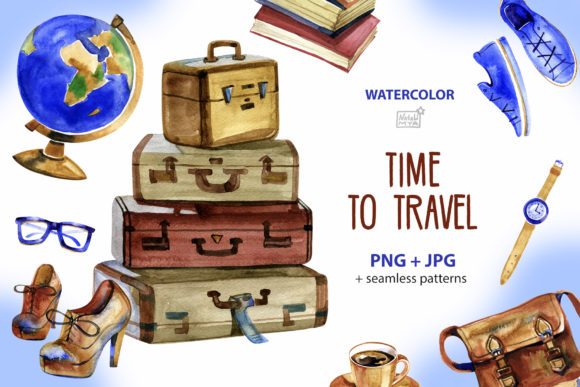 Time to Travel - Watercolor Cliparts Graphic Illustrations By NataliMyaStore