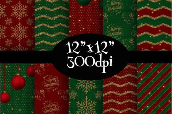 Print on Demand: Vintage Christmas Digital Paper Pack Graphic Backgrounds By Party Pixelz
