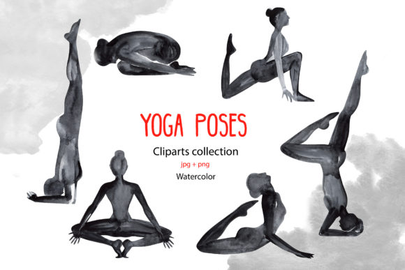 Watercolor Yoga Poses Graphic Illustrations By NataliMyaStore