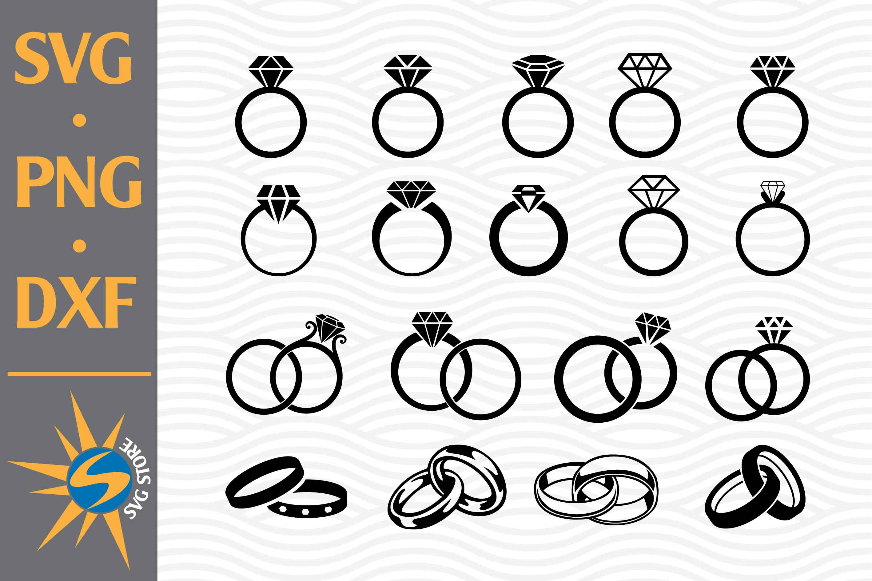 Wedding Ring Silhouettes SVG File