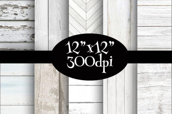 Print on Demand: White Wood Digital Paper Pack Graphic Backgrounds By Party Pixelz