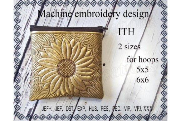 Zippered Bag in the Hoop - Sun Flower Embroidery