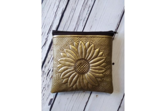 Zippered Bag in the Hoop - Sun Flower Embroidery Download