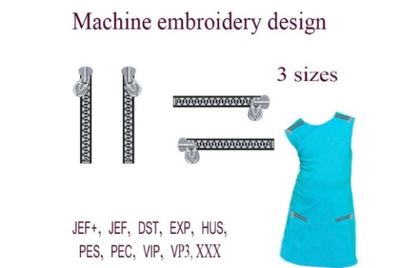 Zippers Sewing & Crafts Embroidery Design By ImilovaCreations