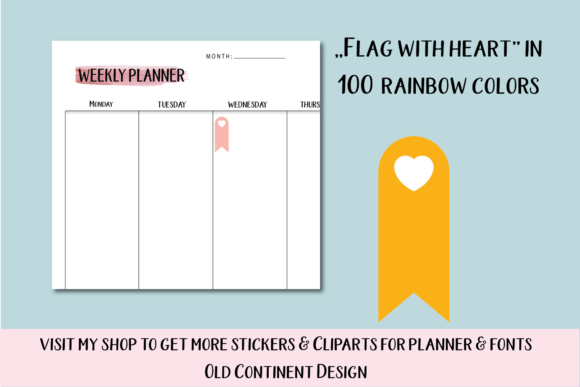 100 Banners Flag with Heart Clipart Graphic Objects By Aneta Design