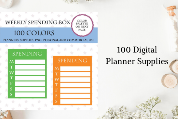 100 Full Box Weekly Calorie Planner Graphic Objects By Aneta Design