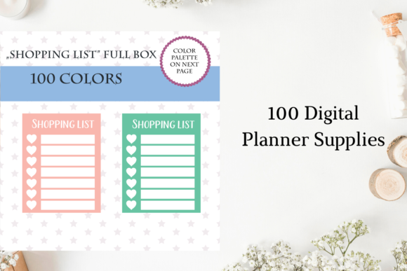 100 Full Box Weekly Hearts, Shopping Graphic Objects By Aneta Design