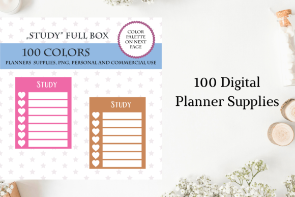 100 Full Box Weekly Study Tracker Graphic Objects By Aneta Design