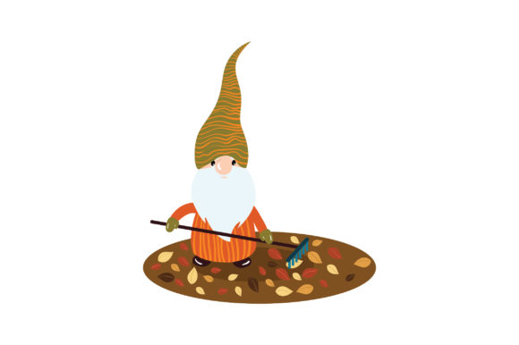 Gnome Raking Leaves Fairy tales Craft Cut File By Creative Fabrica Crafts