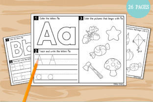 ABC Trace, Write and Color Worksheets Graphic K By Miss Cherry Designs