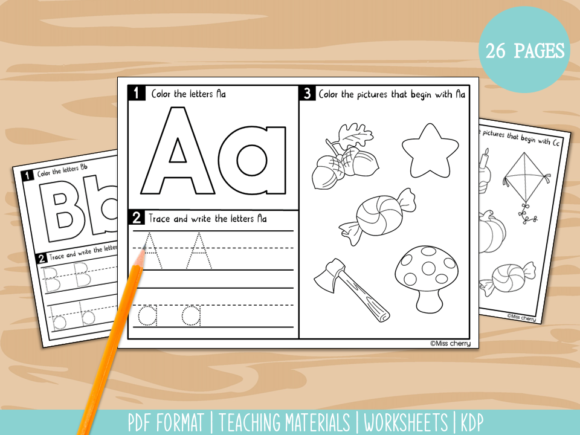 ABC Trace, Write and Color Worksheets Gráfico Infantil Por Miss Cherry Designs