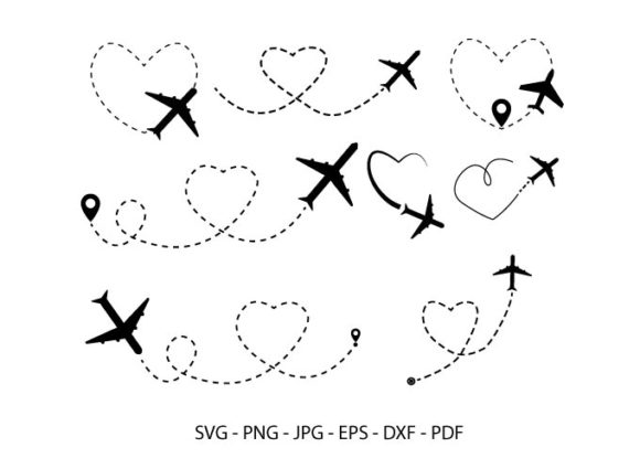 Airplane Heart Route,  Airplane Clipart Graphic Crafts By RedCreations