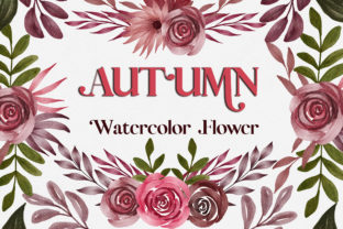 Print on Demand: Autumn Watercolor Flower Clipart Graphic Illustrations By PinkPearly