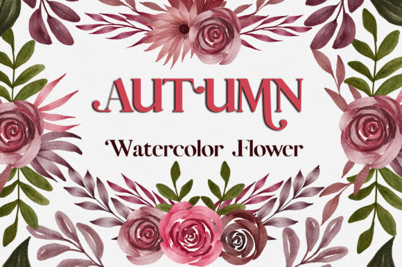 Autumn Watercolor Flower Clipart Graphic Illustrations By PinkPearly