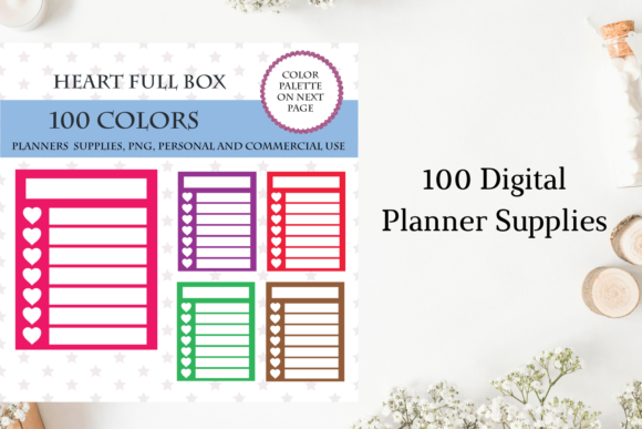 Blank Full Box with Hears, 100 Colors Graphic Objects By Aneta Design