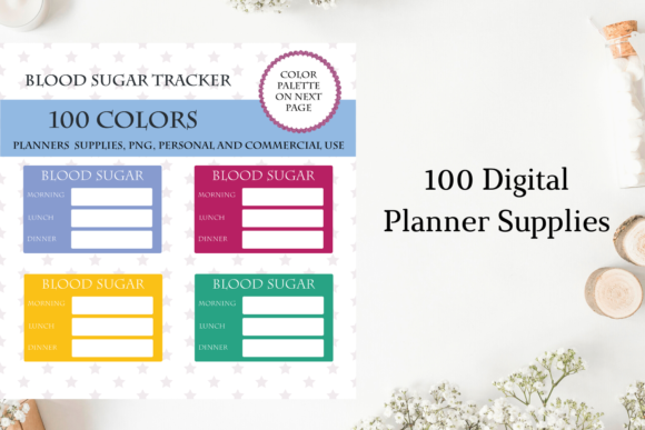 Blood Sugar Tracker Stickers, Diabetes Graphic Objects By Aneta Design