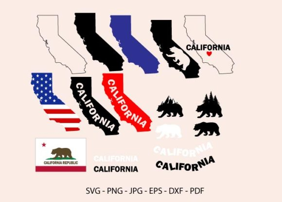 California State Clipart, California Map Graphic Crafts By RedCreations