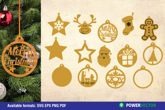 Christmas Ornaments Laser Pattern Graphic Crafts By PowerVECTOR