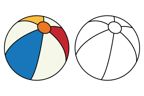 Print on Demand: Cooring Beach Ball for Kids Graphic Illustrations By studioisamu